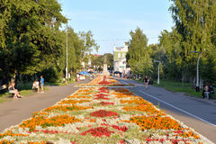 Alley on the Prospect of Victory in Vologda. VOLOGDA, RUSSIA - 11 AUGUST 2016: Alley on the Prospect of Victory in Vologda. The city`s population - 312,686 Royalty Free Stock Photos