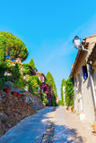 Alley in the Provencal village Grimaud, France stock image