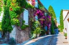 Alley in the Provencal village Grimaud, France stock photography