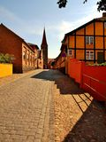 Alley in Ronne. The picturesque alleys of the capital city of the island of Bornholm-Ronne royalty free stock image