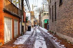 Alley Scene in Chicago with Snow on the Ground royalty free stock photography