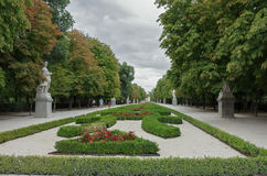 Alley with sculptures in Buen Retiro Park in Madrid, Spain Royalty Free Stock Photos