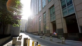 Alley shot of building with sunlight Royalty Free Stock Images