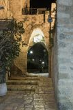 Alley of the sign of the zodiac Capricorn at night in on old city Yafo in Tel Aviv-Yafo in Israel. Tel Aviv-Yafo, Israel, December 01, 2017 : Alley of the sign stock images