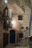 Alley of the sign of the zodiac Scorpio at night in on old city Yafo in Tel Aviv-Yafo in Israel. Tel Aviv-Yafo, Israel, December 01, 2017 : Alley of the sign of stock photos