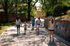 Alley of Spichrze in Grudziadz Poland stock images