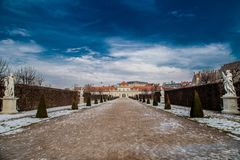 Alley with statues that leads to the lower Belvedere royalty free stock image