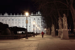 Alley and statues near majestic Royal Palace Stock Photos