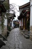 Alley and streets in Old town of Lijiang, Yunnan, China with traditional chinese architecture stock photo