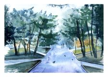 Alley in the summer in the park. greeting card. Stock Photos
