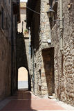 An alley of tarquinia. Tarquinia,Italy Viterbo An alley of tarquinia,The town of Tarquinia UNESCO heritage, the center of Southern Etruria, an Etruscan capital royalty free stock images