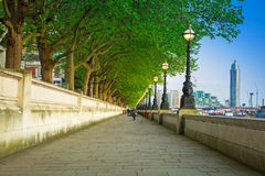 Alley at the Thames river in London at dusk Stock Image