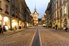 Alley to the clocktower on the old part of Bern Stock Image