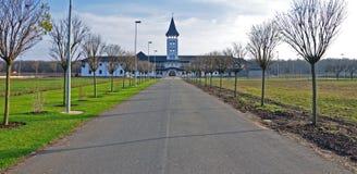 Alley to orthodox monastery stock image