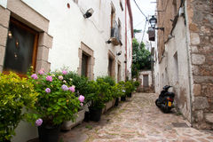 Alley in Tossa de Mar, Catalonia Stock Photos