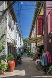 Alley with tourist restaurants in siem reap old town cambodia Stock Images