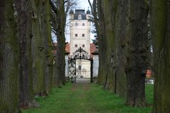 An alley towards the Renaissance-style palace Greilenstein Royalty Free Stock Photos