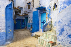 Alley in the town of Chefchaouen in Morocco Stock Photos