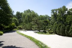 Alley and trees arranged in Japanese garden view royalty free stock photos