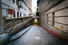 Alley and tunnel in downtown Los Angeles  Royalty Free Stock Photography