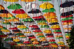 Alley of umbrellas. Installation of a city day in Sumy, Ukraine stock photo