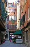 Alley in Venice. Restaurant in quiet alley in Venice Stock Photography