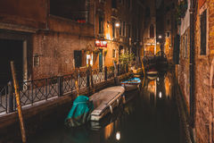 Alley of Venice at night Stock Photos