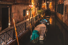 Alley of Venice at night Stock Images