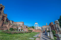 Alley of the Vestals with statues in the Roman Forum, Rome, Ital. The alley of the Vestals with statues, House of Vestal Virgins, located in the Roman Forum Royalty Free Stock Images