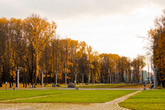 Alley in the Victory park, Minsk Stock Images