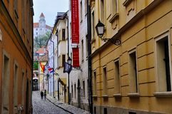 A alley view of Bratislava Castle, Bratislava, Slovakia. Bratislava Castle, the landmark overlooking the capital, was built in 9th century. It stands on the royalty free stock photos