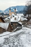 Alley with view of Brunico Royalty Free Stock Image