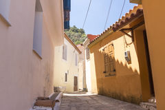 Alley on the village of Manolates Royalty Free Stock Photos