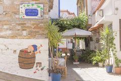 Alley and wall art in small village Royalty Free Stock Photography