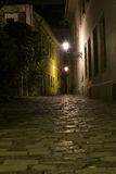 Alley way at night. In the oldtown somewhere in europe Royalty Free Stock Photography