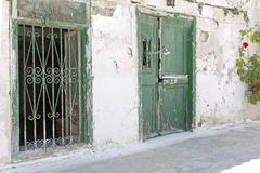 Alley with weathered door and window Stock Image