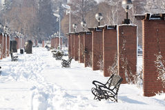 Alley in winter - RAW format royalty free stock photo