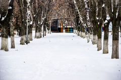 Alley in winter Royalty Free Stock Images