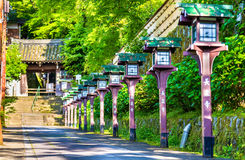 Alley of wooden lanterns at Chorakuji Temple in Kyoto Royalty Free Stock Image