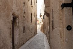 Alleys of the ancient city of Mdina in Malta. Day Royalty Free Stock Image