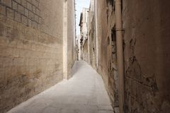 Alleys of the ancient city of Mdina in Malta. Day Stock Photo