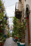 Alleys in the old town of lipari stock images
