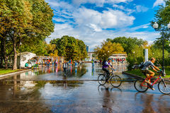Alleys and squares of Moscow Gorky park after the summer rain Stock Photos