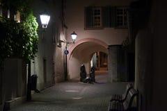 Alleyway alla notte Fotografie Stock Libere da Diritti