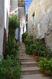 Alleyway in Diamante, village of the murales in Calabria royalty free stock photography
