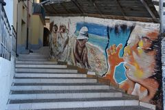 Alleyway in Diamante, village of the murales in Calabria royalty free stock image