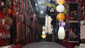 The alleyway with lanterns and souvenirs. The streets and alleyways of Kathmandu stock video footage