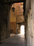 Alleyway in Mantova. Arched alleyway in Mantova, Lombardia, Italy royalty free stock photos