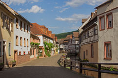Alleyway beside millstream, annweiler village, saarland Royalty Free Stock Photos