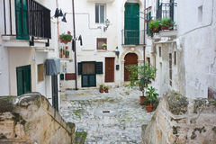Alleyway of Monopoli. Puglia. Italy. Royalty Free Stock Images